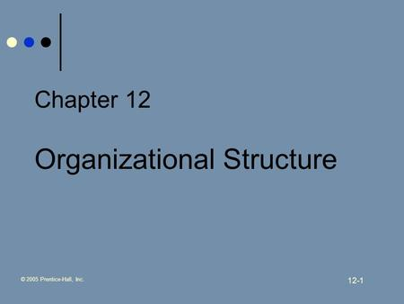 © 2005 Prentice-Hall, Inc. 12-1 Chapter 12 Organizational Structure.