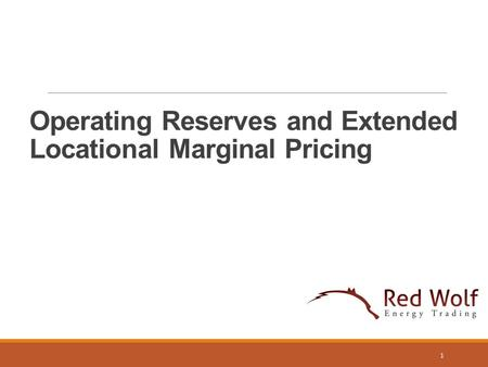 Operating Reserves and Extended Locational Marginal Pricing 1.