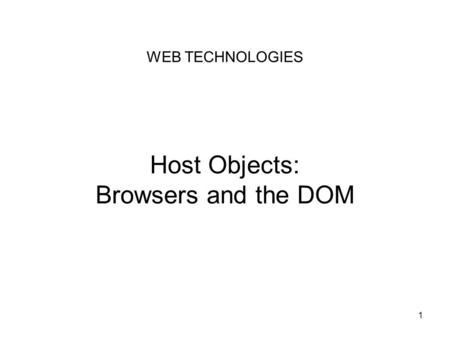 Host Objects: Browsers and the DOM