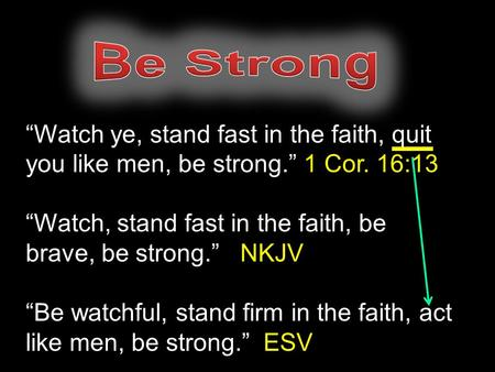 """Watch ye, stand fast in the faith, quit you like men, be strong."" 1 Cor. 16:13 ""Watch, stand fast in the faith, be brave, be strong."" NKJV ""Be watchful,"