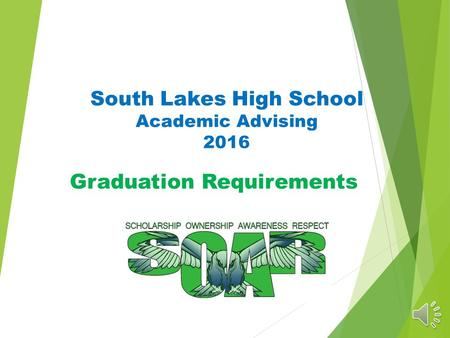 South Lakes High School Academic Advising 2016 Graduation Requirements.