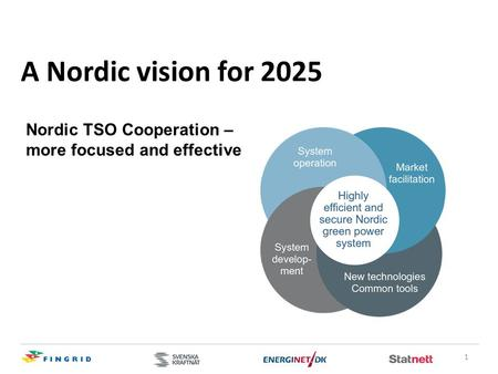 1 A Nordic vision for 2025 Nordic TSO Cooperation – more focused and effective.