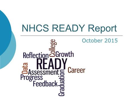 NHCS READY Report October 2015. READY Annual Report Contents Growth Proficiency: Detail for Grades 3- 8 and High School Progress: Annual Measurable Objectives.