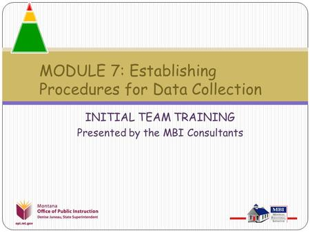INITIAL TEAM TRAINING Presented by the MBI Consultants MODULE 7: Establishing Procedures for Data Collection.