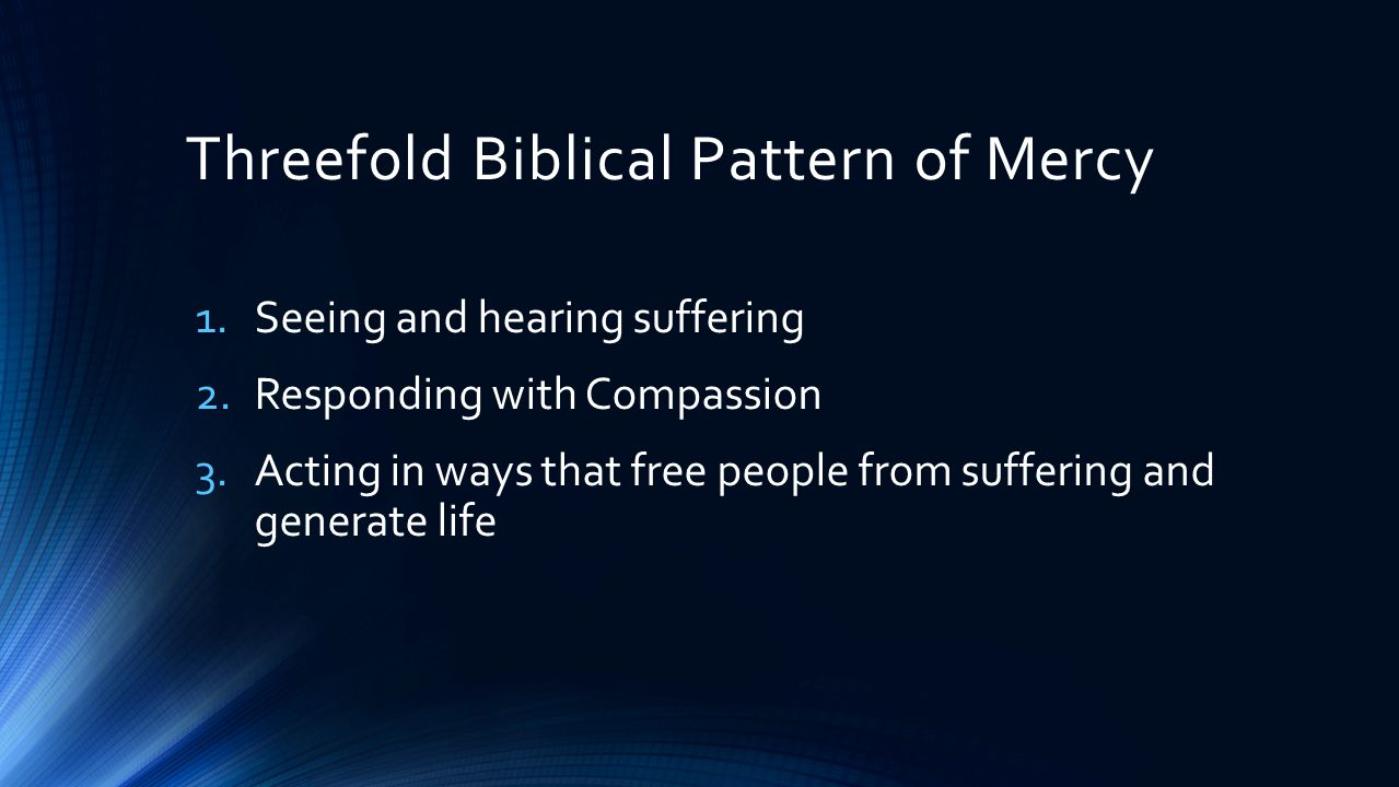 Questions for Reflection and Journaling 1.How have I participated in the threefold dynamic of God's mercy in my current ministry.