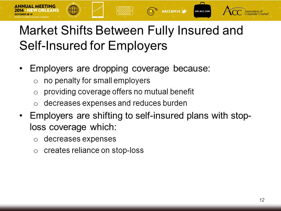 Private Exchanges Managed insurance marketplace for large employer groups Employer establishes amount it will pay toward healthcare for its employees Employee uses the established credit from employer to shop from a list of standard health plans from different carriers E.g., Mercer and Aon Hewitt 13