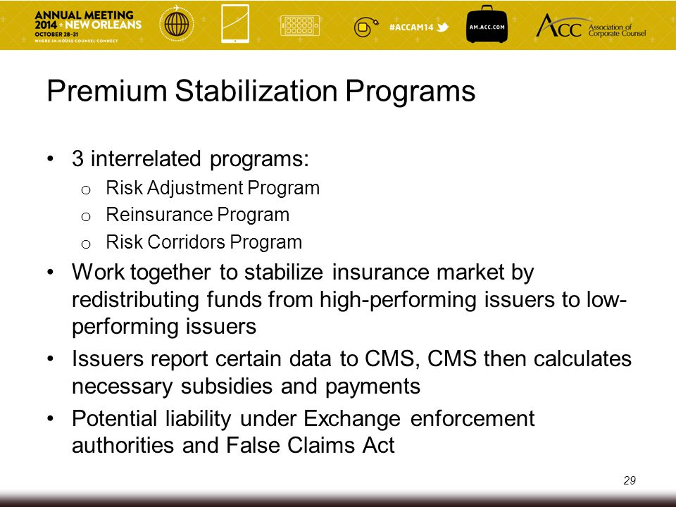 Additional Compliance Obligations for QHP Issuers on FFE Establish effective compliance plan Issuer attestations in QHP issuer application (potentially used for FCA liability) Oversight of downstream and delegated entities Above requirements are similar to those in Medicare Advantage/Prescription Drug programs Potential liability under Exchange enforcement authorities and False Claims Act 30