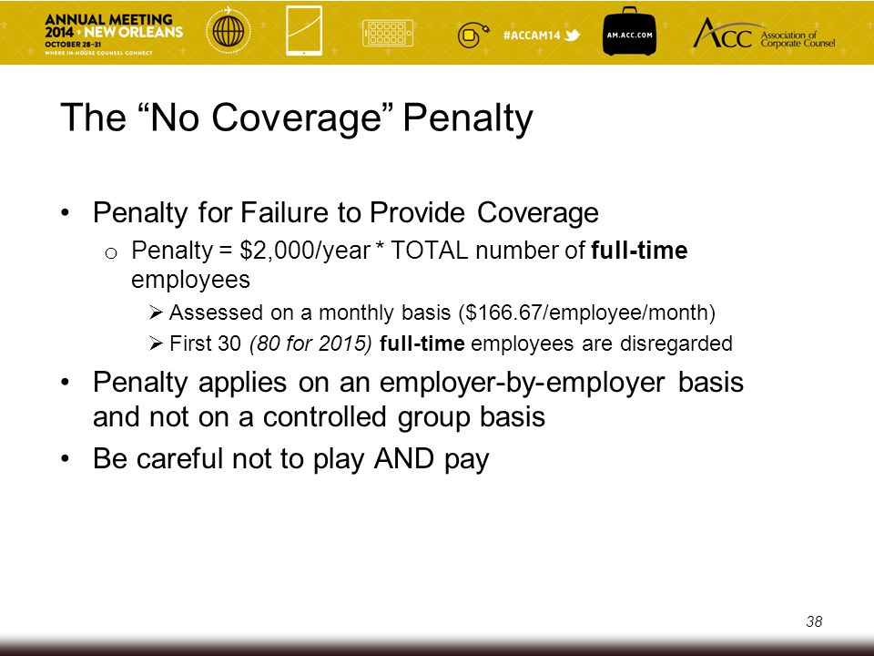 The Unaffordability Penalty Penalty for not providing affordable/minimum value coverage o Applies if:  Employee's share of the premium for lowest-cost employee- only coverage would exceed 9.5% of the employee's income, or the affordable plan does not provide minimum value—pay at least 60% of the allowed costs under the plan, AND  The employee receives a subsidy through an Exchange 39