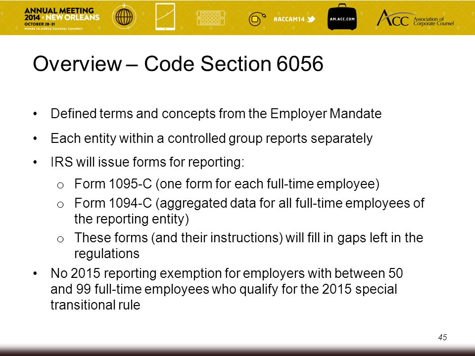 Content of Report to IRS (Primary Method) Name, address and EIN of the reporting employer Name and phone number of contact person at the reporting employer (or its third-party reporting agent) Calendar year to which report pertains For each full-time employee, certification of whether the full-time employee (and dependents) were offered minimum essential coverage (MEC), by calendar month For each full-time employee, months during the calendar year for which MEC was available For each full-time employee, the full-time employee's cost share for the lowest cost monthly premium for self-only coverage providing minimum value, by calendar month 46