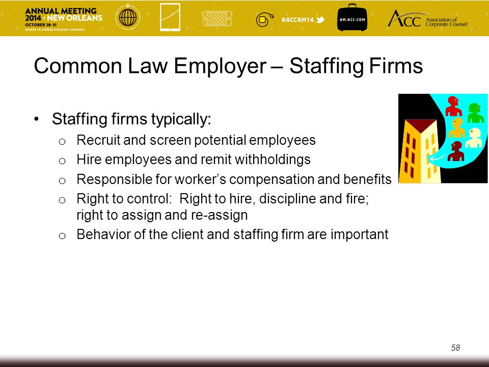 Dos and Don'ts – Staffing Firms/Clients DO: Tell staffing firm you are ending the assignment Let staffing firm handle discipline and performance issues Let staffing firm recruit and screen (with limited client input) DON'T: Terminate a contingent worker Discipline contingent worker or address performance issues without involving staffing firm Act like the employer (e.g., evaluate screening results, dictate wages or benefits) 59