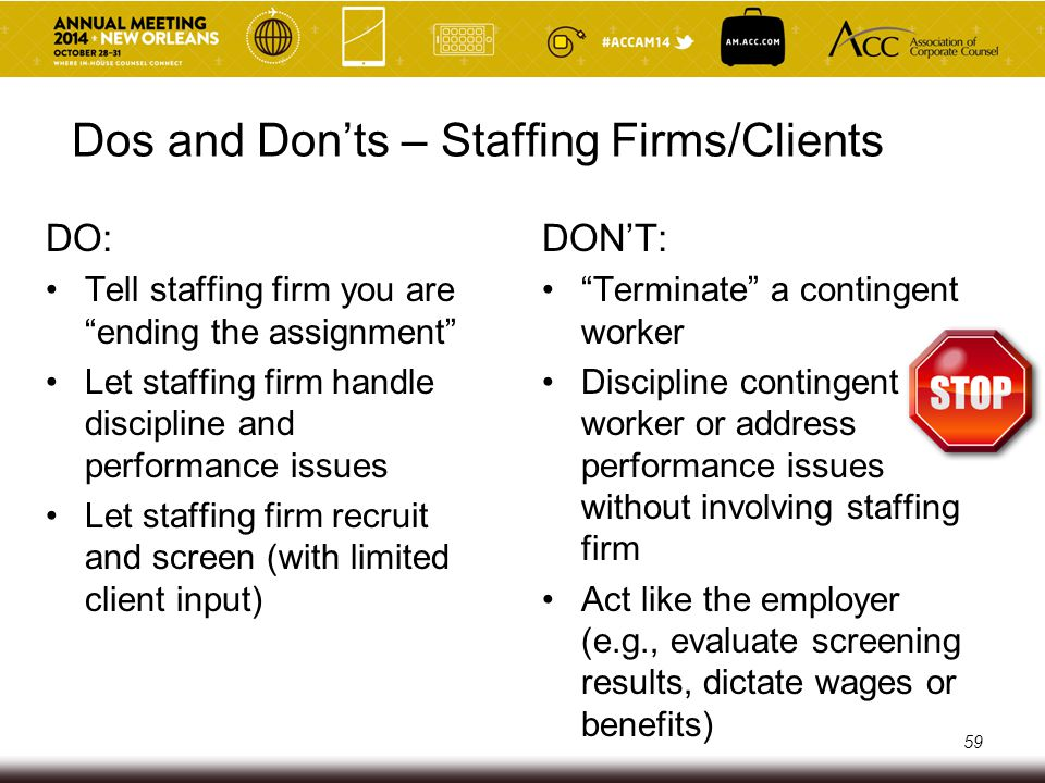 PPACA Final Rules – Discussion of Staffing Firms Section in preamble regarding temporary staffing firms which discusses such staffing firms making an offer of coverage to its employees Preamble seems to use temporary staffing firm to mean a firm that places employees in short-term, high-turnover assignments A staffing firm can be construed to mean any staffing firm that does not place temporary workers (e.g., direct permanent placement services, pay-rolling) Final rules also use professional employer organization and staffing firm in section on offers of coverage (no explicit definitions given for any of these terms) 60