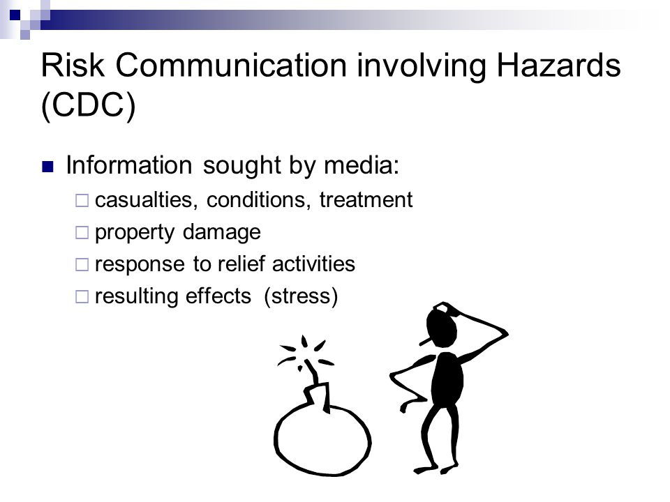 Risk Communication involving Hazards (CDC) Don't try to over reassure the public Inappropriate to ask people to abandon their fears Give people action steps to do