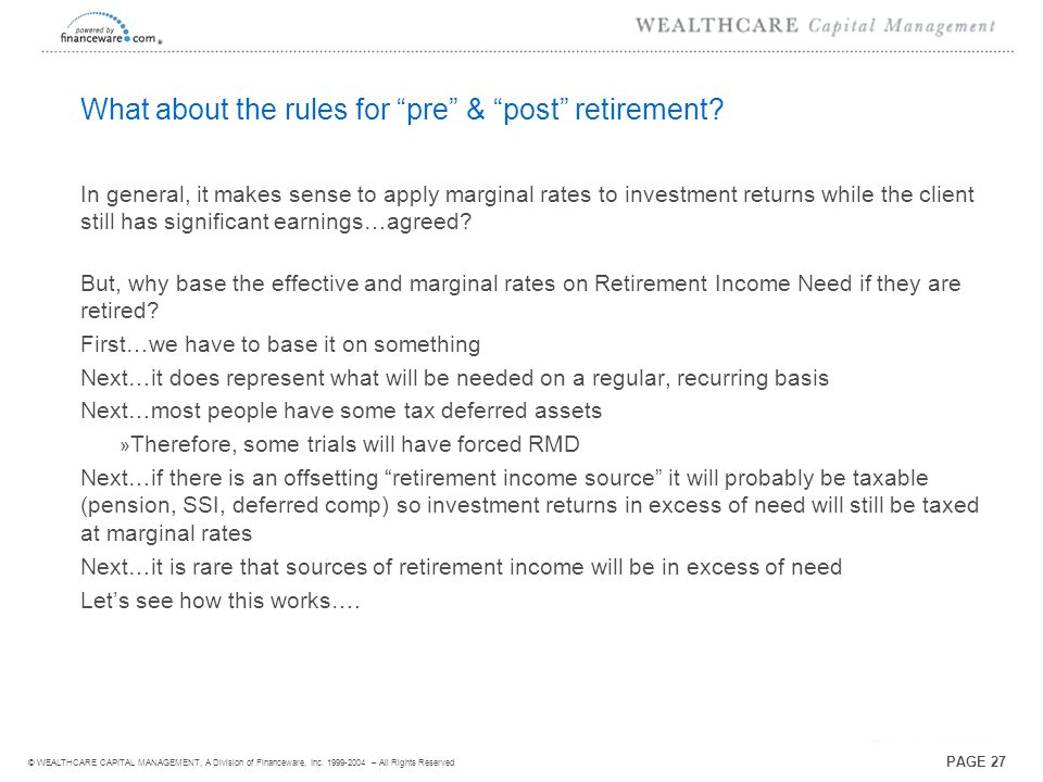 ® © WEALTHCARE CAPITAL MANAGEMENT, A Division of Financeware, Inc.
