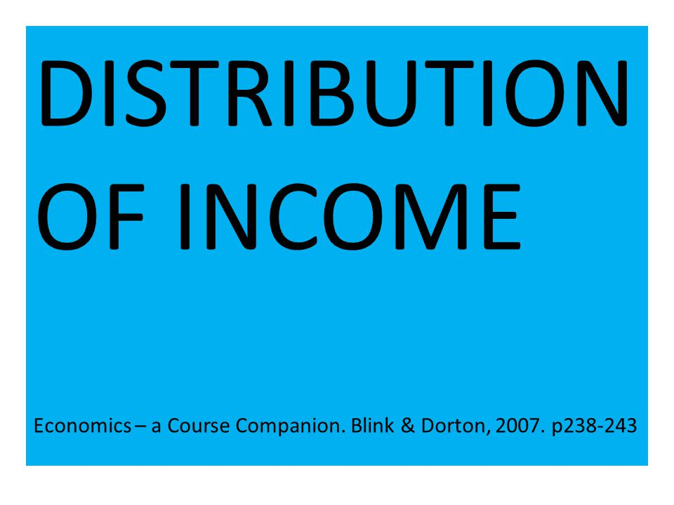 Introduction to Income Distribution One of the characteristics associated with free market economics is an unequal distribution of income.