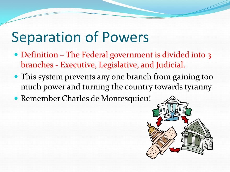 Checks and Balances Definition – Each of the 3 branches of government has a check on the other 2 branches.