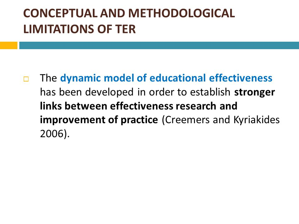 THE DYNAMIC MODEL OF EDUCATIONAL EFFECTIVENESS: AN OVERVIEW  The dynamic model refers to multiple factors of effectiveness which operate at different levels (figure 1).