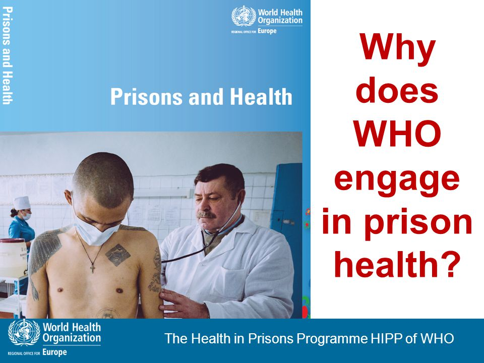 The Health in Prisons Programme HIPP of WHO WHO - Mission and Responsibility WHO – the authority for health within the UN WHO - responsible for  providing leadership on global health matters  shaping the health research agenda  setting norms and standards  articulating policy options  providing technical support to countries.