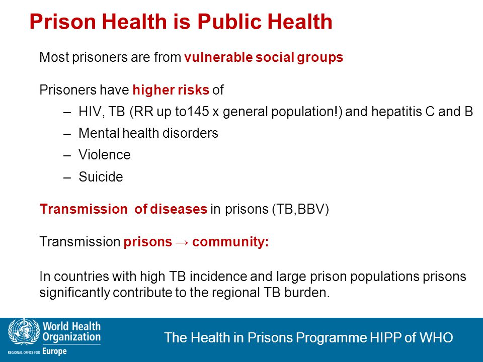 The Health in Prisons Programme HIPP of WHO Prisoner's right to health Prisoners remain bearers of all human rights Right to health → International Covenant on Economic, Social and Cultural Rights, Art.
