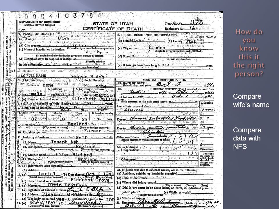 Now in Family Pedigree on NFS you can check to find another direct line ancestor who died in Utah.