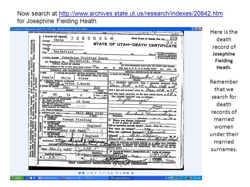 When you check in Family Pedigree on NFS you find mother Mary Ann died in Utah before 1904, so there will not be a death certificate for her.