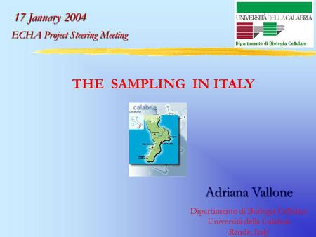 THE SAMPLING IN ITALY Adriana Vallone Dipartimento di Biologia Cellulare Università della Calabria Rende, Italy 17 January 2004 ECHA Project Steering.