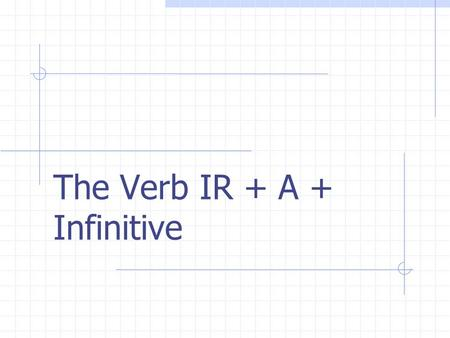 The Verb IR + A + Infinitive REGULAR VERBS Verbs whose INFINITIVES end in -ar follow a pattern.