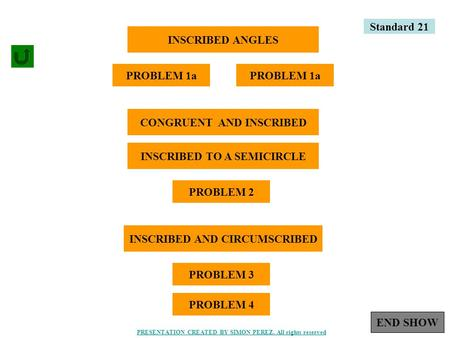 1 INSCRIBED ANGLES PROBLEM 1a CONGRUENT AND INSCRIBED INSCRIBED TO A SEMICIRCLE PROBLEM 2 INSCRIBED AND CIRCUMSCRIBED PROBLEM 3 Standard 21 PROBLEM 4 END.