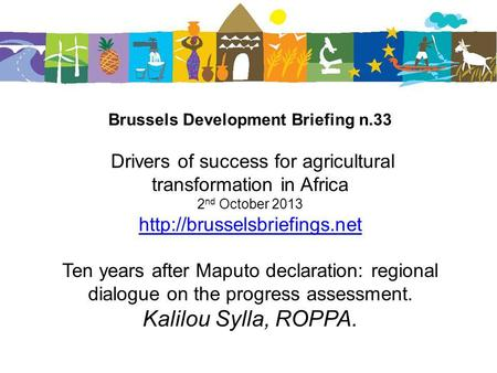 Brussels Development Briefing n.33 Drivers of success for agricultural transformation in Africa 2 nd October 2013  Ten years.