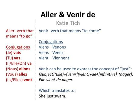 "Aller & Venir de Katie Tich Aller- verb that means ""to go"""