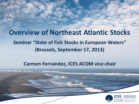 Overview of Northeast Atlantic Stocks Seminar State of Fish Stocks in European Waters (Brussels, September 17, 2013) Carmen Fernández, ICES ACOM vice-chair.