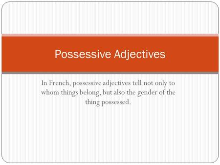 In French, possessive adjectives tell not only to whom things belong, but also the gender of the thing possessed. Possessive Adjectives.