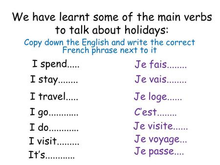 We have learnt some of the main verbs to talk about holidays: Copy down the English and write the correct French phrase next to it I spend..... Je passe....