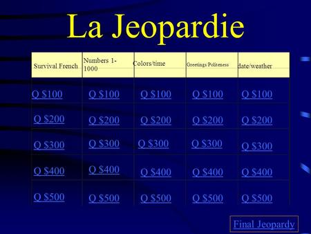 La Jeopardie Survival French Numbers 1- 1000 Colors/time Greetings/Politeness date/weather Q $100 Q $200 Q $300 Q $400 Q $500 Q $100 Q $200 Q $300 Q $400.