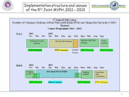 1 Implementation structure and venues of the 5 th Joint MVPH, 2011 - 2013.