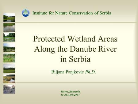 Protected Wetland Areas Along the Danube River in Serbia Biljana Panjkovic Ph.D. Institute for Nature Conservation of Serbia Tulcea, Romania 18-20 April.