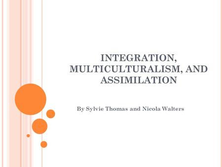 INTEGRATION, MULTICULTURALISM, AND ASSIMILATION By Sylvie Thomas and Nicola Walters.