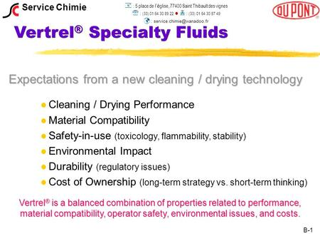 Vertrel ® Specialty Fluids Expectations from a new cleaning / drying technology l l Cleaning / Drying Performance l l Material Compatibility l l Safety-in-use.