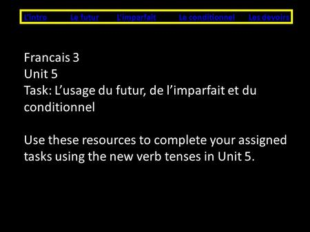 LintroLe futurLes devoirsLe conditionnelLimparfait Francais 3 Unit 5 Task: Lusage du futur, de limparfait et du conditionnel Use these resources to complete.