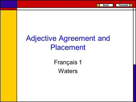 Adjective Agreement and Placement Français 1 Waters.