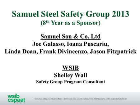 Samuel Steel Safety Group 2013