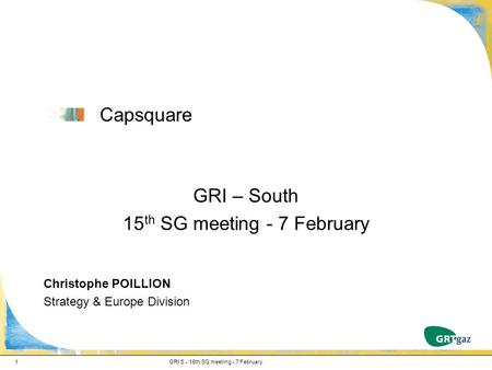 Capsquare GRI – South 15 th SG meeting - 7 February Christophe POILLION Strategy & Europe Division GRI S - 15th SG meeting - 7 February1.