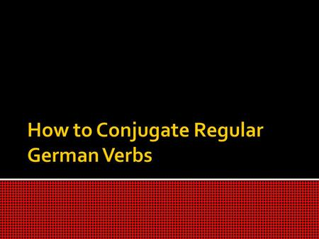 When first looking at regular German verbs you have to isolate the root of the word to form the correct ending The root of any German verb is going.