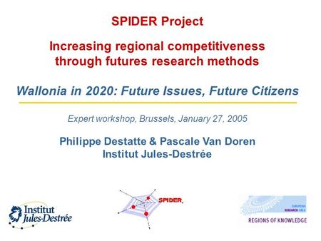 SPIDER Project Increasing regional competitiveness through futures research methods Wallonia in 2020: Future Issues, Future Citizens Expert workshop, Brussels,