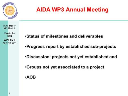 H.-G. Moser MPI Munich Valerio Re INFN AIDA WP3 Annual Meeting 1 WP3 EVO April 12, 2011 Status of milestones and deliverables Progress report by established.