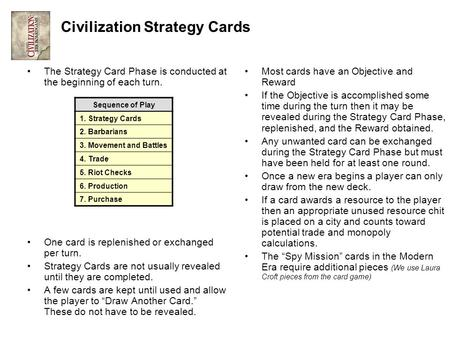 Civilization Strategy Cards The Strategy Card Phase is conducted at the beginning of each turn. One card is replenished or exchanged per turn. Strategy.