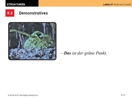 8.3 Lektion 8 Recht und Umwelt STRUKTUREN © and ® 2012 Vista Higher Learning, Inc. 8.3-1 Demonstratives Das ist der grüne Punkt.