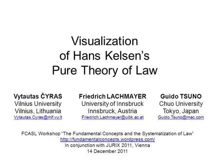 Visualization of Hans Kelsens Pure Theory of Law Vytautas ČYRAS Vilnius University Vilnius, Lithuania Friedrich LACHMAYER University.