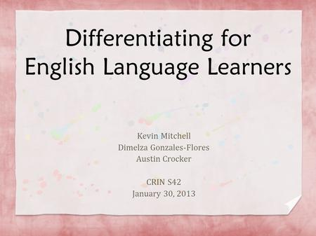 Differentiating for English Language Learners