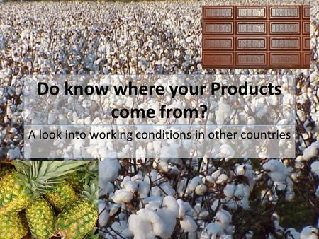 Do know where your Products come from? A look into working conditions in other countries.