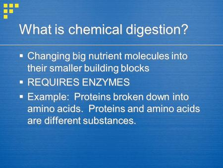 What is chemical digestion?